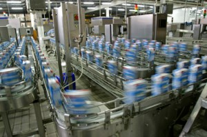 production line in modern dairy factory